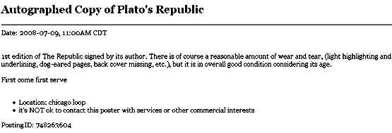 sale blurb, signed first edition of plato's republic